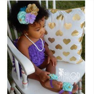 Mermaid purple petti lace Romper set